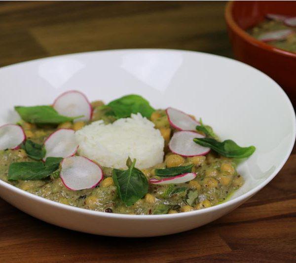 Receta Vegana Curry Verde con Garbanzos y Arroz Jazmín - www.coquinare.com - Dulces Recuerdos